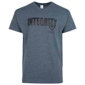 gray t-shirt with integrity text and iacp logo