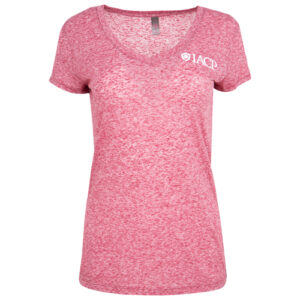 Ladies Pink Heather V-Neck with IACP in white