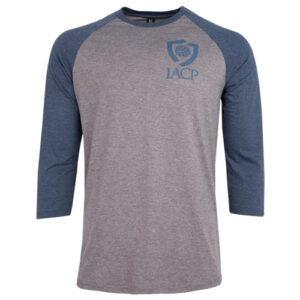 gray shirt with blue sleeves