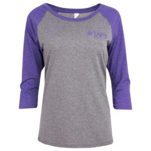 gray baseball t with purple sleeves and purple iacp logo