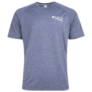 men's gray athletic t shirt with white iacp logo
